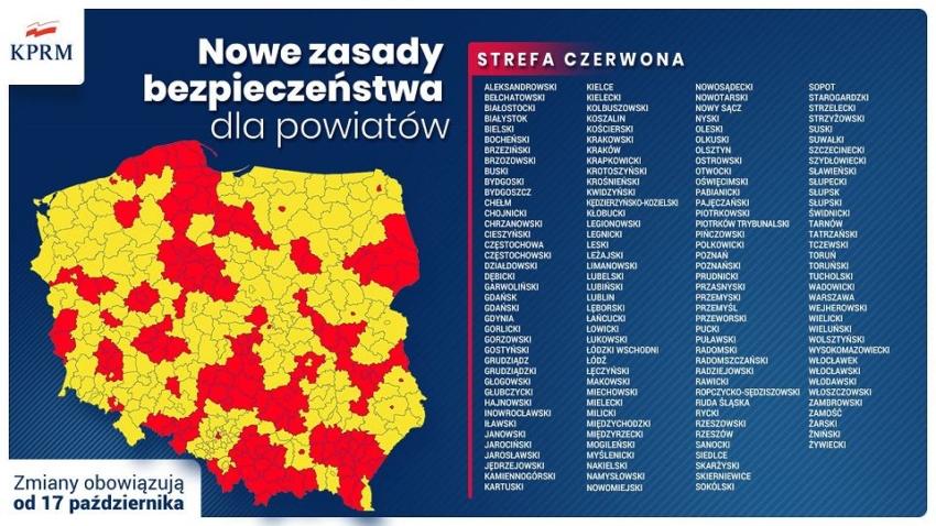 Pół Polski na czerwono – wprowadzono nowe obostrzenia