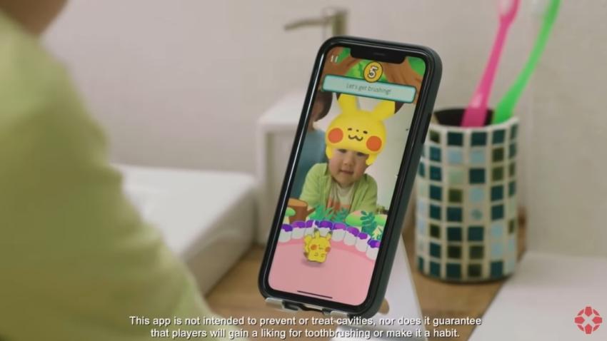 Pokemony przez aplikację mobilną uczą mycia zębów